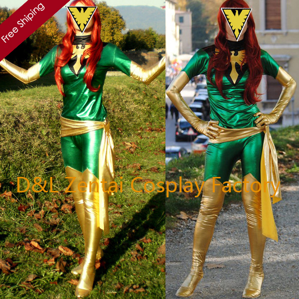 Free Shipping DHL Wholesale Amazing X Men Phoenix Shiny Metallic Gold Green Superhero Zentai Catsuit Costume