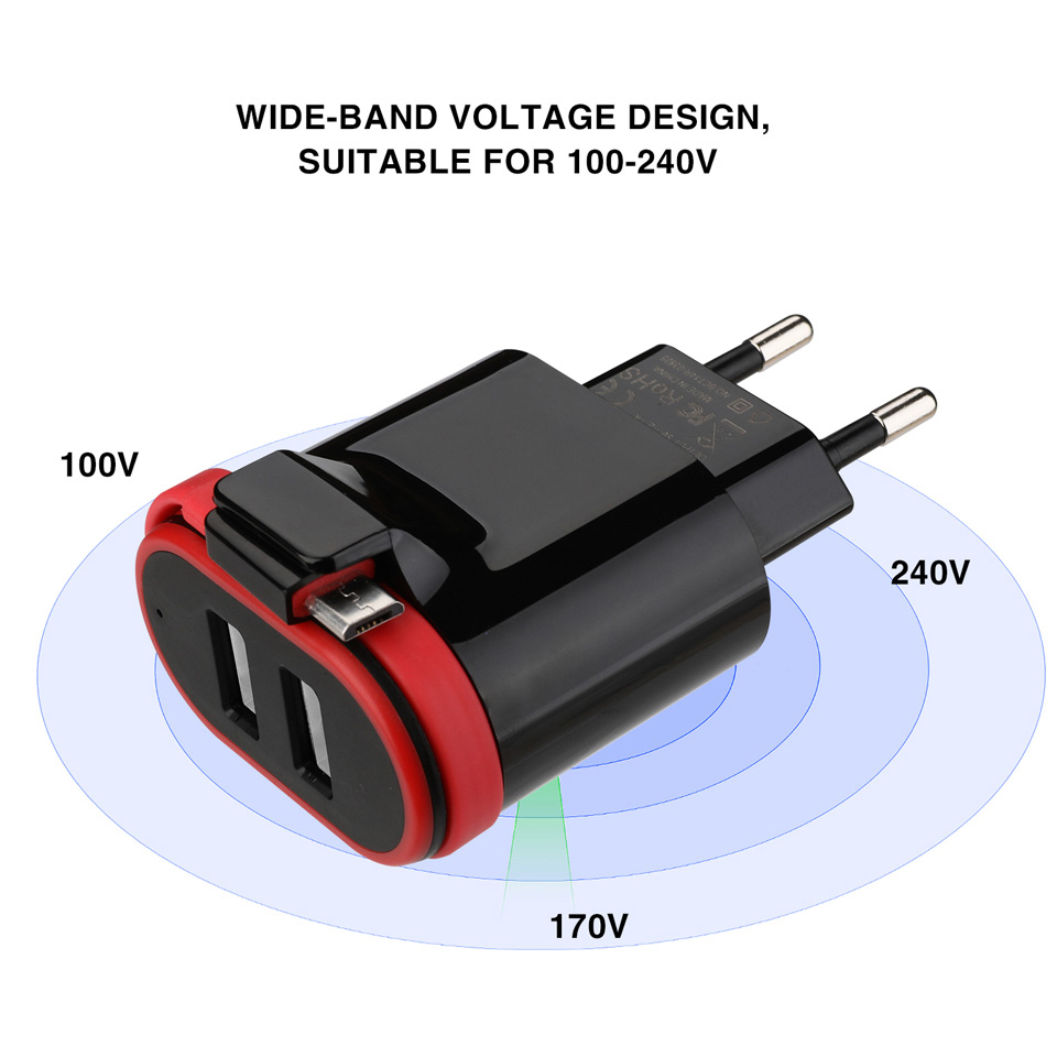 VOGEK Dual USB Charger with Cable Type C USB Wall Charger Fast Charge Travel Phone Charger EU US Plug For iPhone Samsung Xiaomi in Mobile Phone Chargers from Cellphones Telecommunications