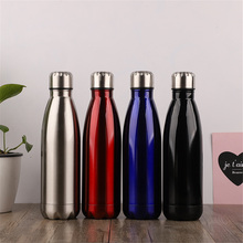 Bright Solid Color Water Bottle Leak-proof Stainless Steel Thermos Vacuum Insulated Sport Cup Bicycle Hiking Drink