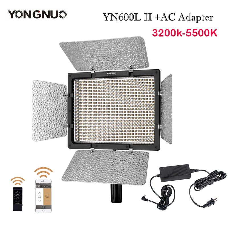 YONGNUO Bi-color LED Video Light YN600L II 3200-5500K 2.4G Bluetooth YN600 II 600 Panel with AC Power AdapterYONGNUO Bi-color LED Video Light YN600L II 3200-5500K 2.4G Bluetooth YN600 II 600 Panel with AC Power Adapter