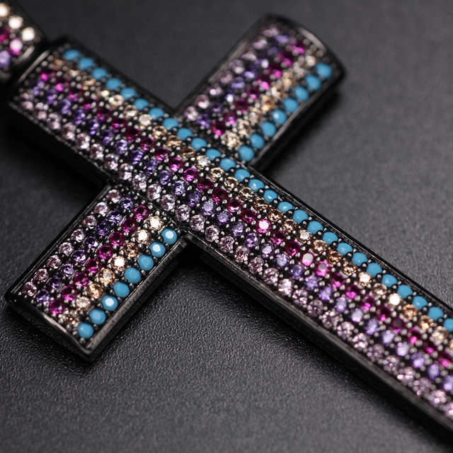MultiColor big Cross Pendant Necklace for women full Pave Natural blueTurquoise stone colourful Cubic Zirconia Necklace jewelry