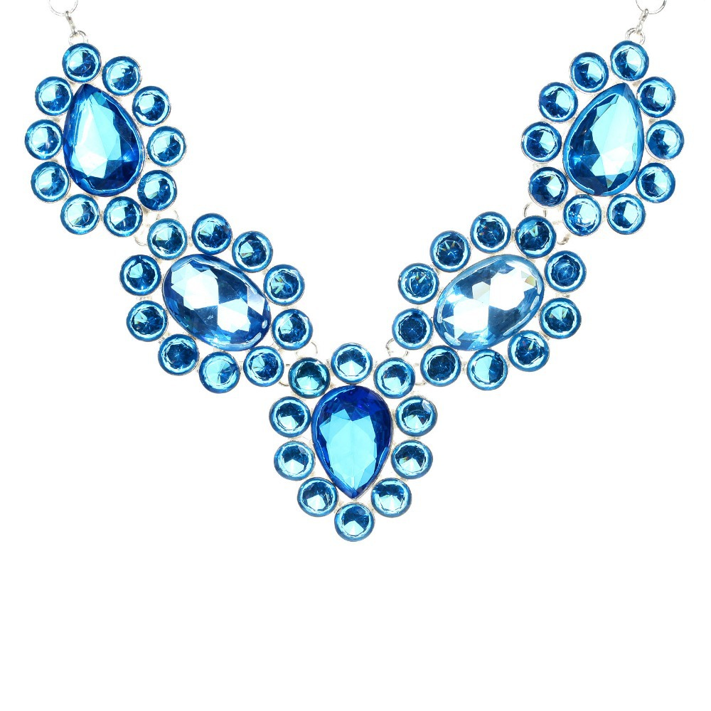 2016 Summer Hot Big Zircon Imitation Silver Plated Necklace Women s Five Flower Necklace Jewelry