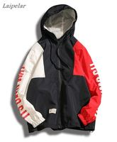 Laipelar anorak jacket windbreaker men jaqueta masculina patchwork waterproof jackets streetwearletter print bomber jacket 5XL