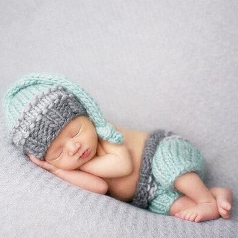 Newborn Props Photography Accessories Baby Clothes Photography Knitted Hat+Pants Set Baby Photo Props Accessory New Born Photo