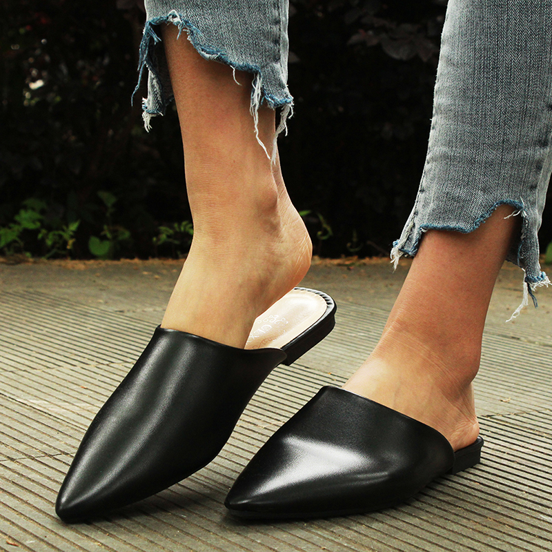 Flat Shoes 2019 Fashion Mules For Women PU Leather Pointed Toe Slip On Sandalias Women Slipper Summer Sandals Women's Shoes