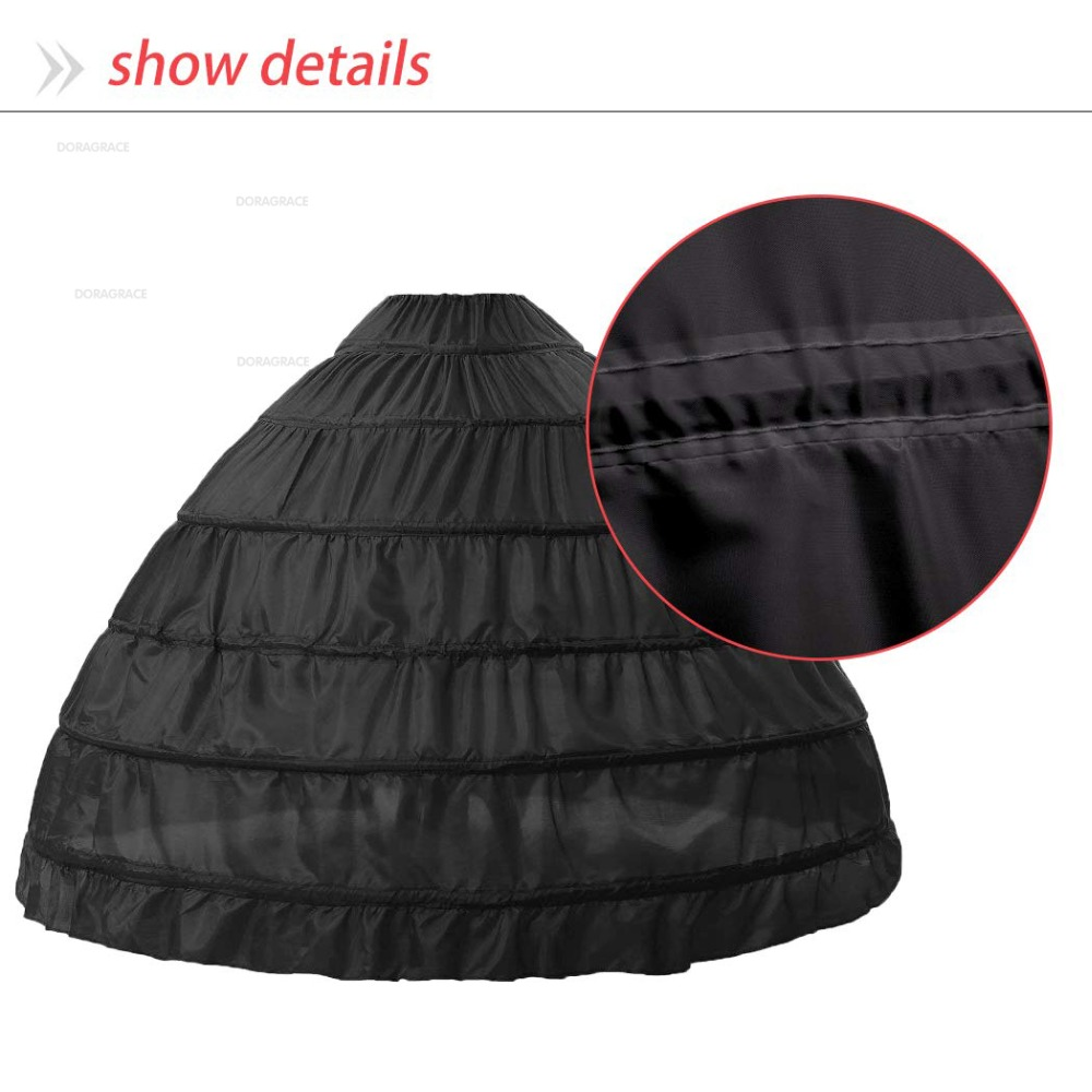 Doragrace Crinoline Petticoat Underskirt 6 Hoops SkirtBall Gown Skirt for Wedding Dress in Petticoats from Weddings Events