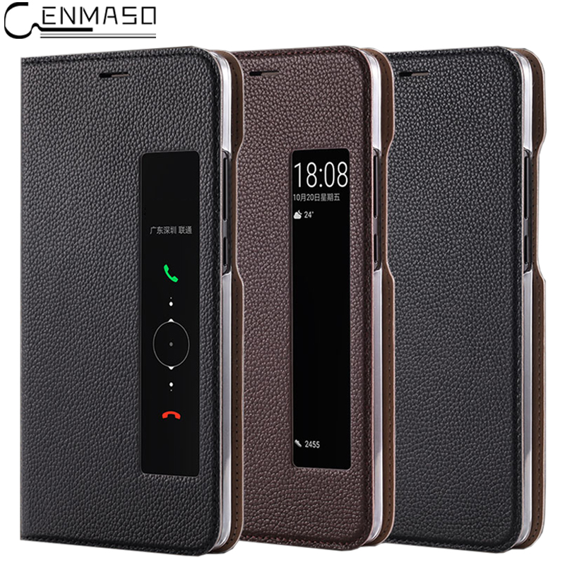 For HUAWEI Mate 10 Case Flip Cover Real Original Genuine Leather Smart View for Huawei M ...