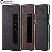 For HUAWEI Mate 10 Case Flip Cover Real Original Genuine Leather Smart View For Huawei MATE