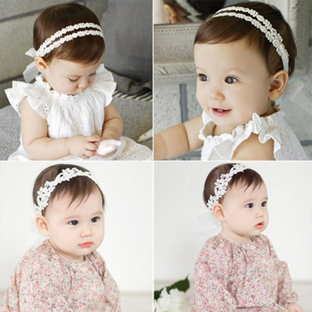 Ivory Lace Crown Baby Headbands For Girls Handmade Adjustable Knot Bow Baby Headwear Headband Flower Newborn Hair Accessories