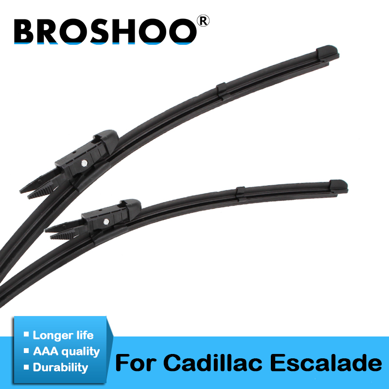 BROSHOO Car Wiper Blade Natural Rubber For Cadillac Escalade Fit Pinch Tab/Hook Arm 2006 2007 2008 2009 2010 2011 2012 2013 2014