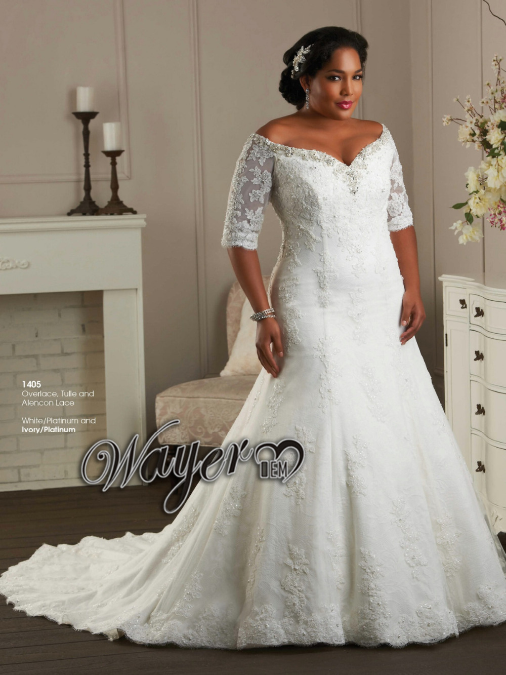Plus size lace sleeve wedding dress for Wedding dresses with half sleeves