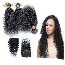 Brazilian Water Wave 3 Bundles With Lace Closure Rosa Cheap 7A Unprocessed Free Part Closure With Virgin Human Hair Extension