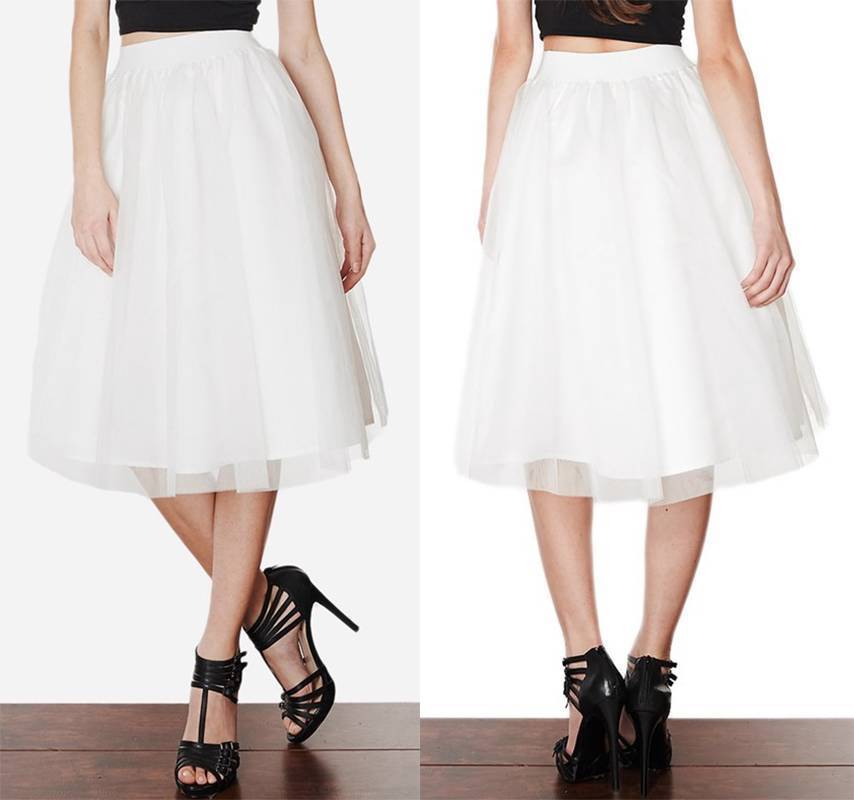 e3d0db936a0 White Tulle Ballet Pleated Circle A Line Flare Full Knee Length Midi Skirt  NWT