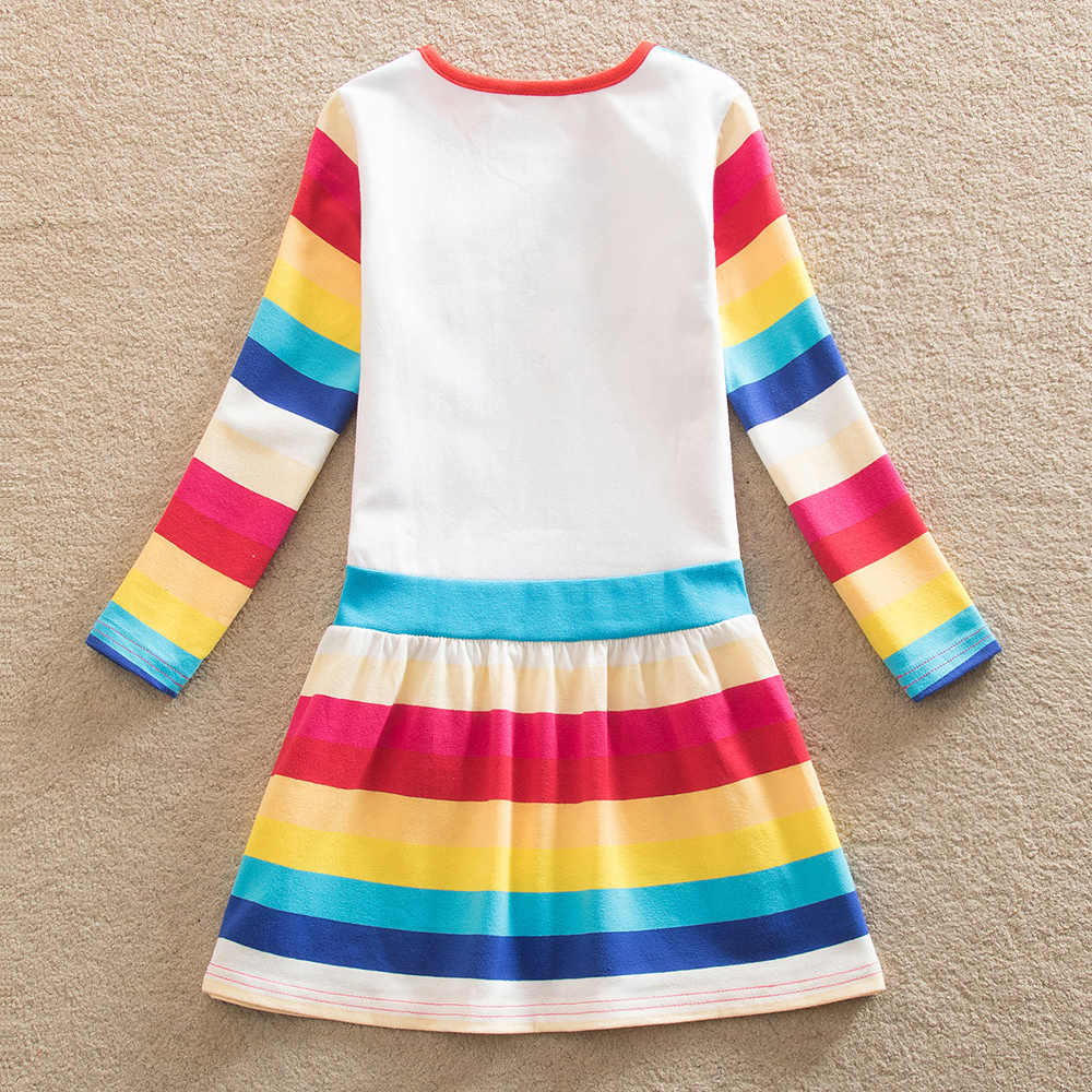 JUXINSU Benim Bebek Kız Küçük Midilli Karikatür Kız Gökkuşağı Uzun Kollu Elbiseler Midilli rahat elbise Sonbahar Kış Ev Giyim 1- 8 yıl