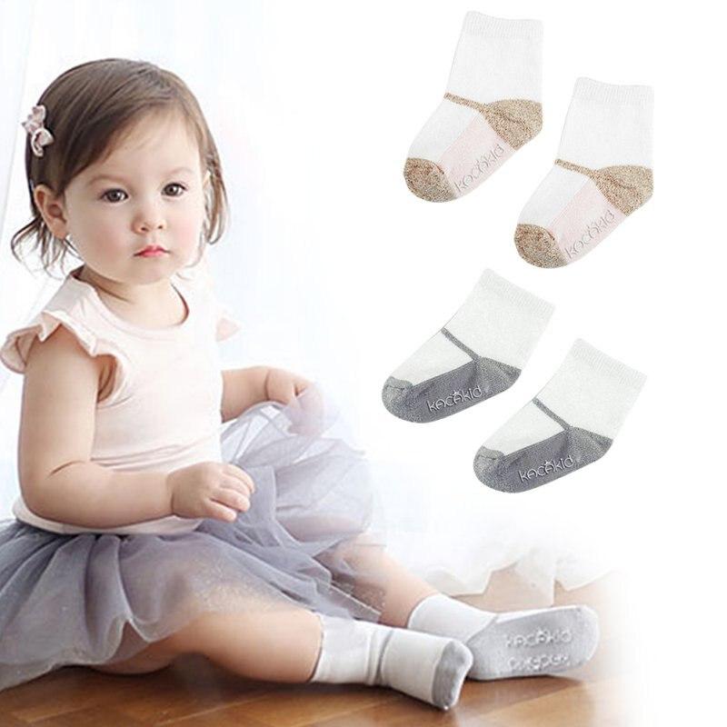 Newborn Baby Socks Kids Girl Boy Patchwork Anti-slip Soft Cotton Ankle Sock