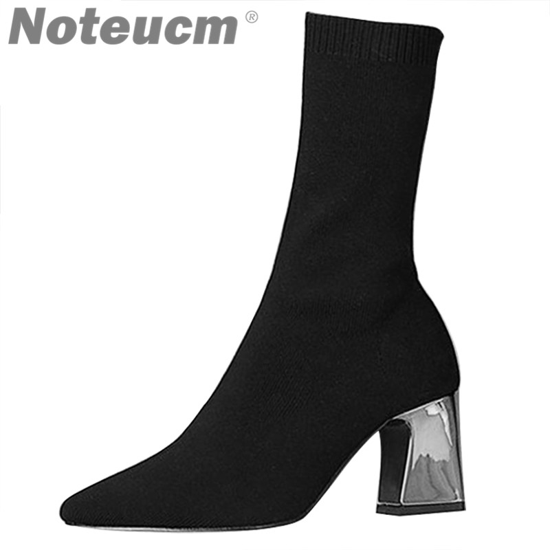 Femme Fashion Female woolen High Ankle Sock Boot Chunky Medium Heel Stretch Knit Bootie Elastic Pointed Toe Sexy Lady Shoe Women 2018 sexy women thigh high knit boots stretch fabric kim kardashian sock bootie chunky high heel women elastic desert boots