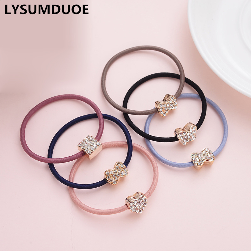 6pcs/lot Girls Hair Accessories Elastic Hair Bands Cute Scrunchy Crystal Hoop Bows Rubber Band Headdress New Hair Bands For Kids Unequal In Performance Accessories