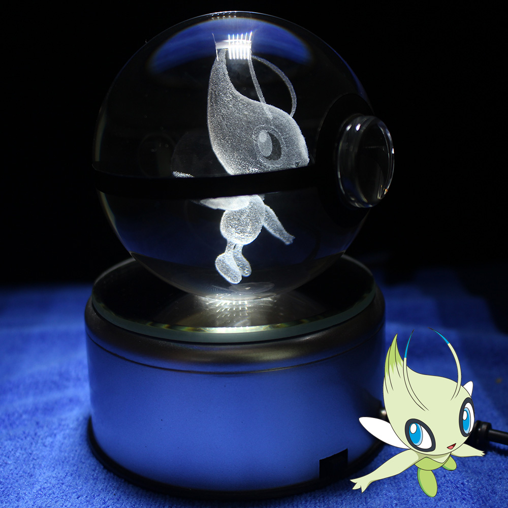 Celebi Pokeball Crystal Ball Desktop Decoration Light Glass Ball DropshippingCelebi Pokeball Crystal Ball Desktop Decoration Light Glass Ball Dropshipping