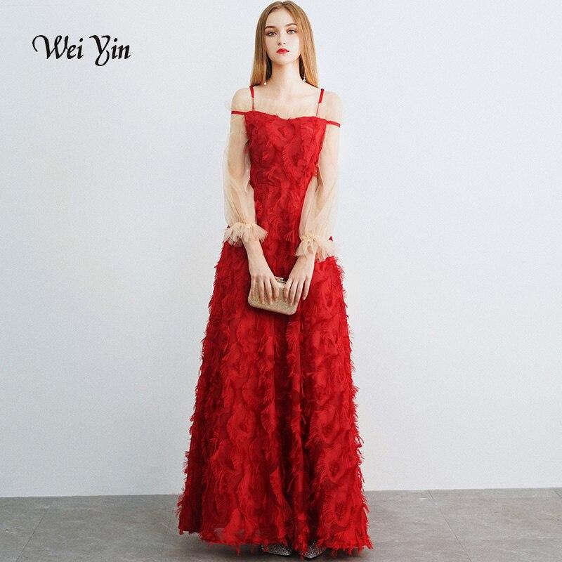 Weiyin Vestido De Festa Longo vin rouge robe de soirée longue Tulle dentelle formelle robe dos nu robes De bal robe de soirée WY1062