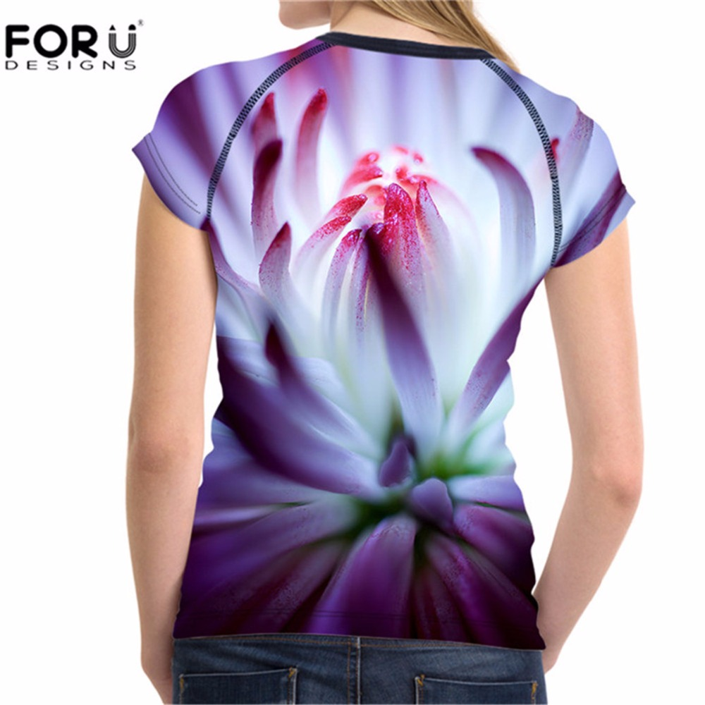 5bcbf52ee1cb FORUDESIGNS 3D Print T shirt Floral Tee Shirts for Women Girls T Shirts  Bodybuilding Breathable Female Short Sleeve Elastic Tees-in T-Shirts from  Women s ...