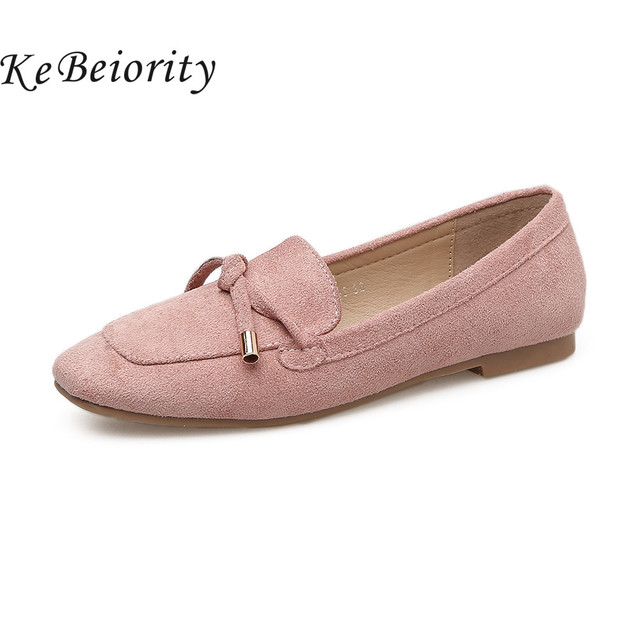 5770fa9c51a KEBEIORITY Casual Women Flats Black Pink Women Loafers Spring Shoes for  Women Comfortable Ballet Flats Slip On Shoes 2018