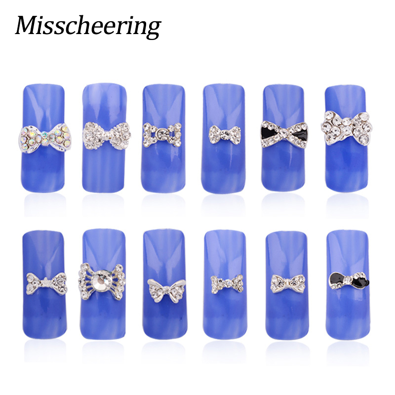 10pcs 3D Clear Glitter Zlitine Rhinestones Silver Bow kravato Design - Poslikava nohtov