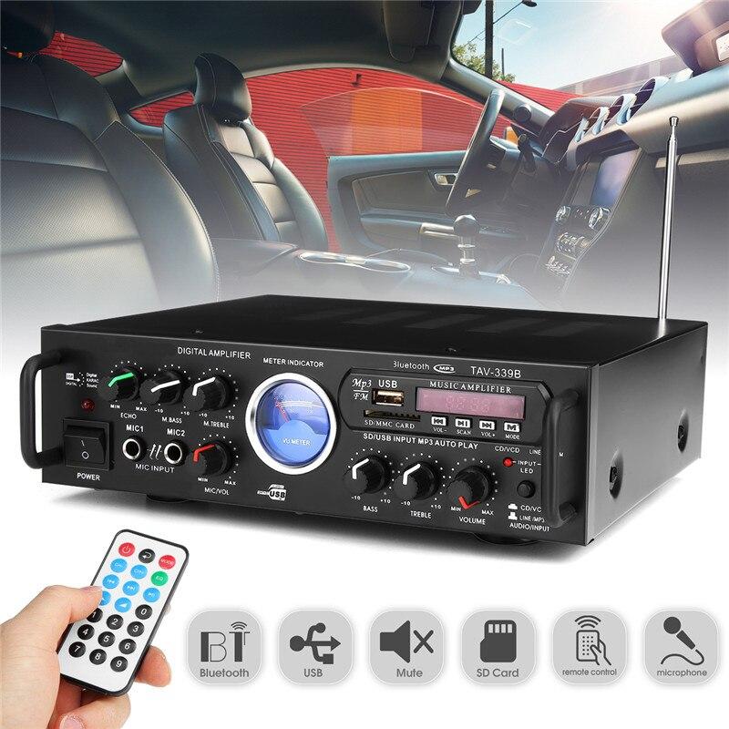 KROAK 500W 4ohm HIFI Power Bluetooth Amplifier 2 Channel Karaoke Power Stero Karaoke KTV USB/AUX FM USB Amplifier Car Amplifier wl finished hifi black gold commemorative edition lm1875 stero amplifier 25w 25w