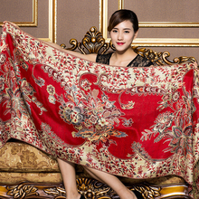 Luxury Brand for Woman Print Scarf Chinese Ethnic Style Flower Pattern Tassel Winter Warm And Soft Long Blanket Shawl