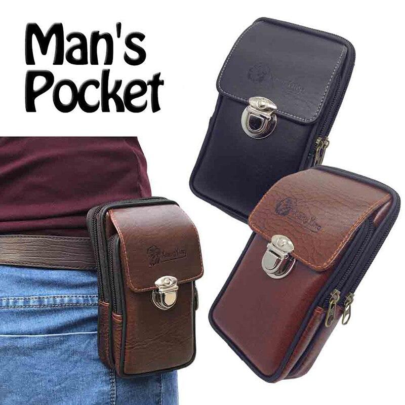 HTB1akE5XyYrK1Rjy0Fdq6ACvVXaK Multipurpose Camping Hiking Zipper Tactical Belt Outdoor Pouch Waist Bag  Vintage Security Pack Mini Men Faux Leather Waist Bag