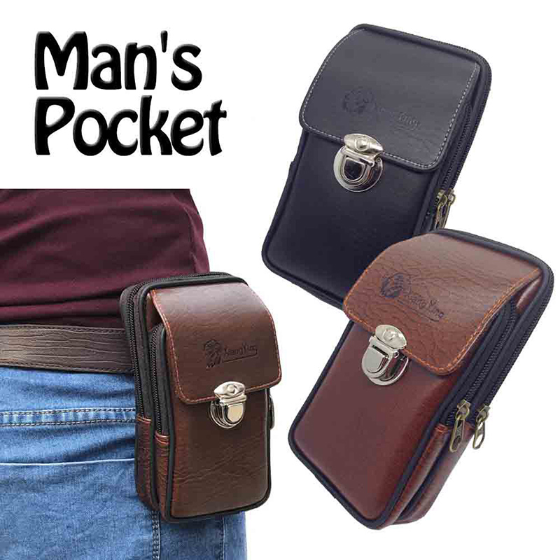 Multipurpose  Camping Hiking Zipper Tactical Belt Outdoor Pouch Waist Bag Vintage Security Pack Mini Men Faux Leather Waist Bag