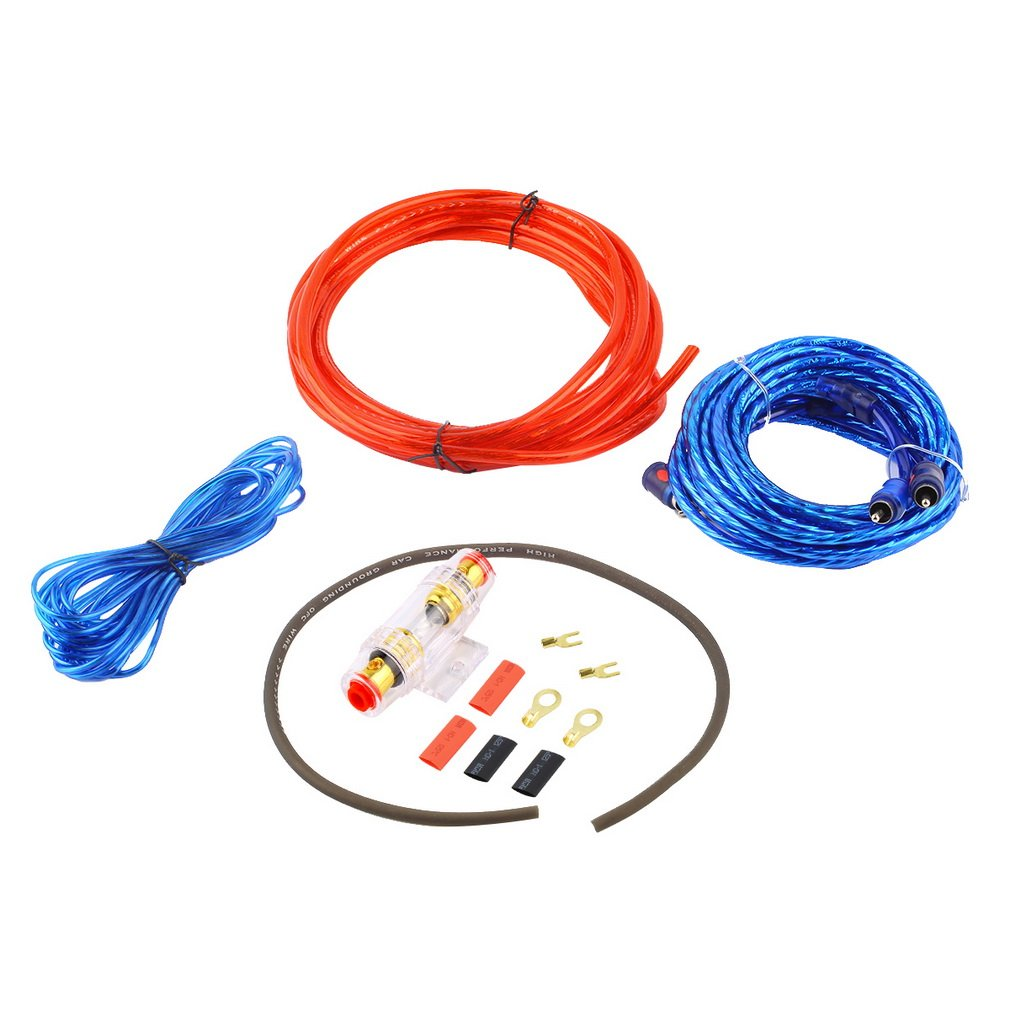 800W Car Audio Power Cable Subwoofer Amplifier AMP Wiring Fuse Holder Wire Cable Support Installation Kit Low Noise Distortion