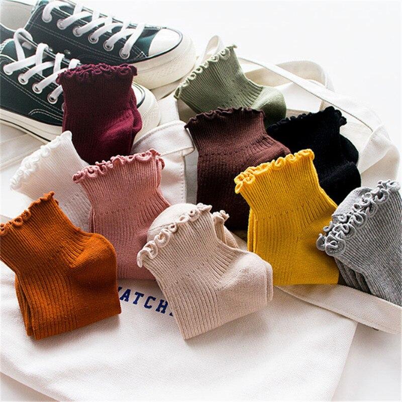 Модные мягкие хлопковые женские носки с кружевными оборками, 4 пары милые однотонные носки наивысшего качества красивые удобные милые носк...