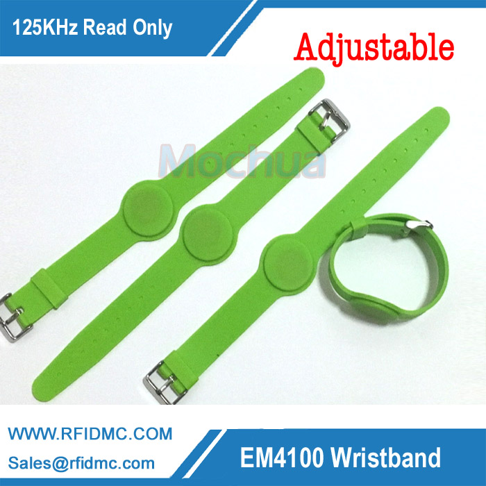 125Khz EM4100 read only RFID Silicone Wristband green color band adjustable watch type