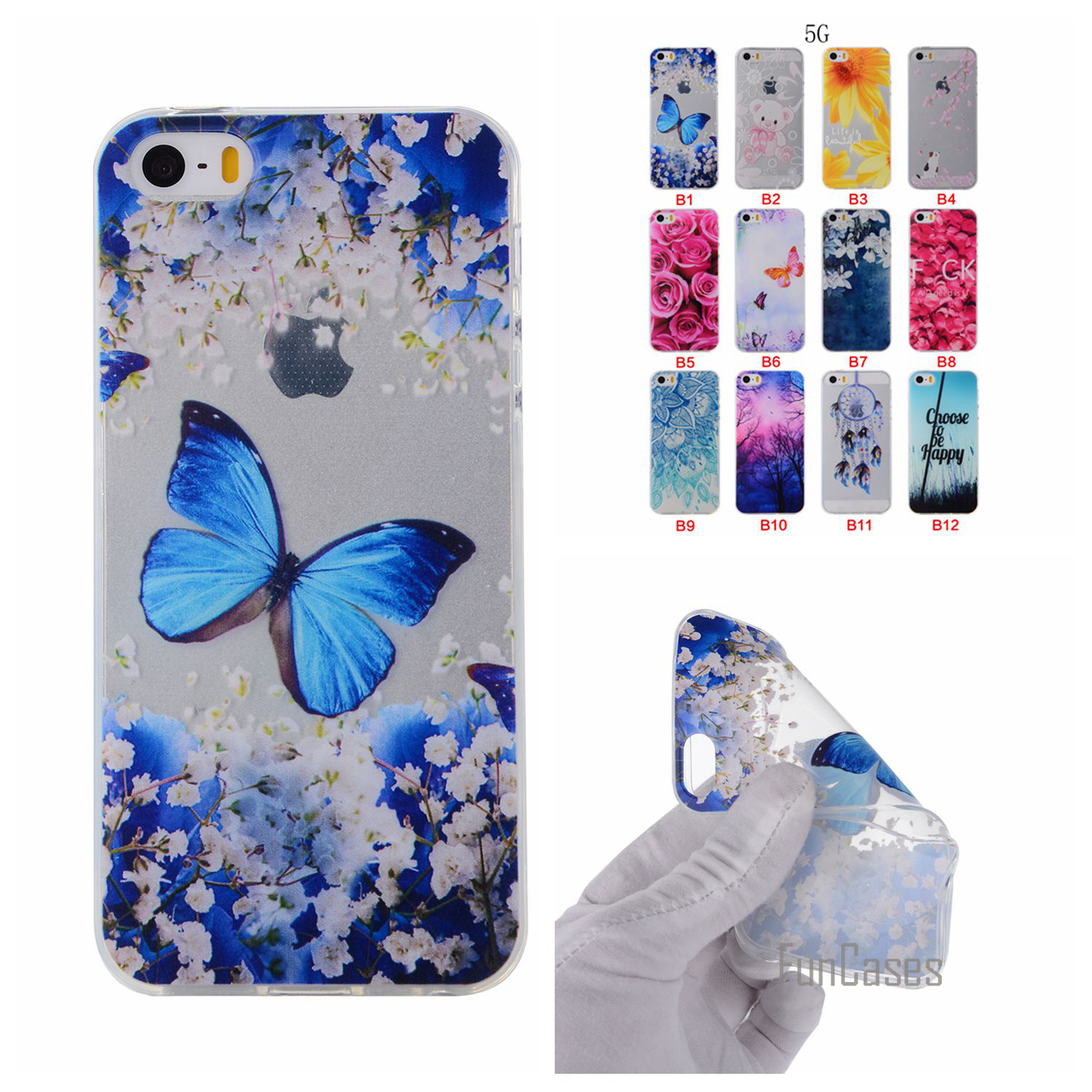 Cartoon Flower Butterfly Bear Tree Painted Back Cover Silicon Gel Soft TPU Mobile Phone Case For iPhone 5S coque 5 5S SE 5G capa