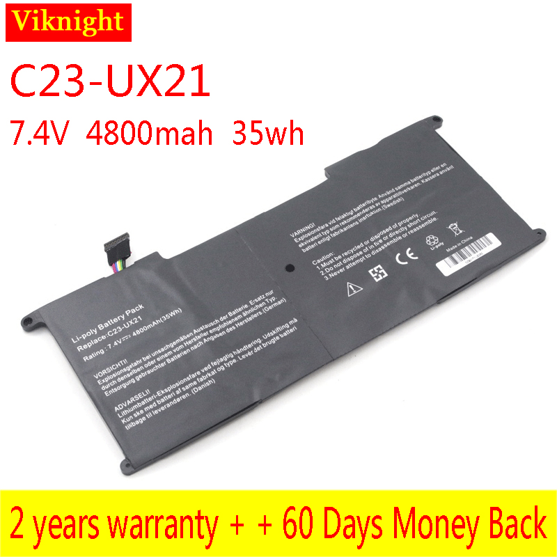 Free Shipping C23-UX21 Battery for ASUS Zenbook UX21 UX21E Series Laptop Batteries 7.4V 4800mAh Replacement C23-UX21 Hot Sale