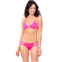 27c3ce2c55cee Women Bikini Set Solid Triangle Lace Up Bandage Strappy Braided Padded  Backless Cut Out Sexy Brazil
