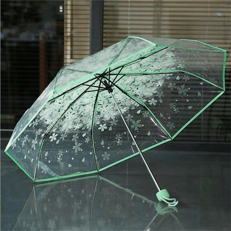 4 Colors Transparent Women Umbrella 2018 Clear Rain Umbrella Cherry Blossom Mushroom Apollo Sakura 3 Fold Umbrella #FG29 (14)