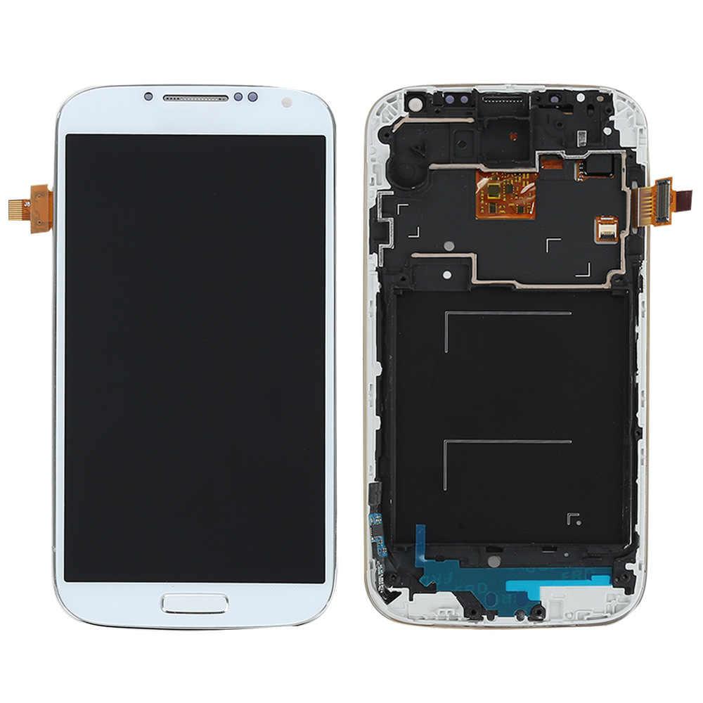 ل samsung غالاكسي S4 i9505 شاشة الكريستال السائل مجموعة المحولات الرقمية لشاشة تعمل بلمس استبدال جزء ل samsung s4 i9505 عرض مع الإطار