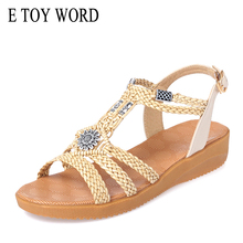 E TOY WORD Womens sandals flat open toe 2019 summer new woven women shoes soft bottom large size Bohemian beach