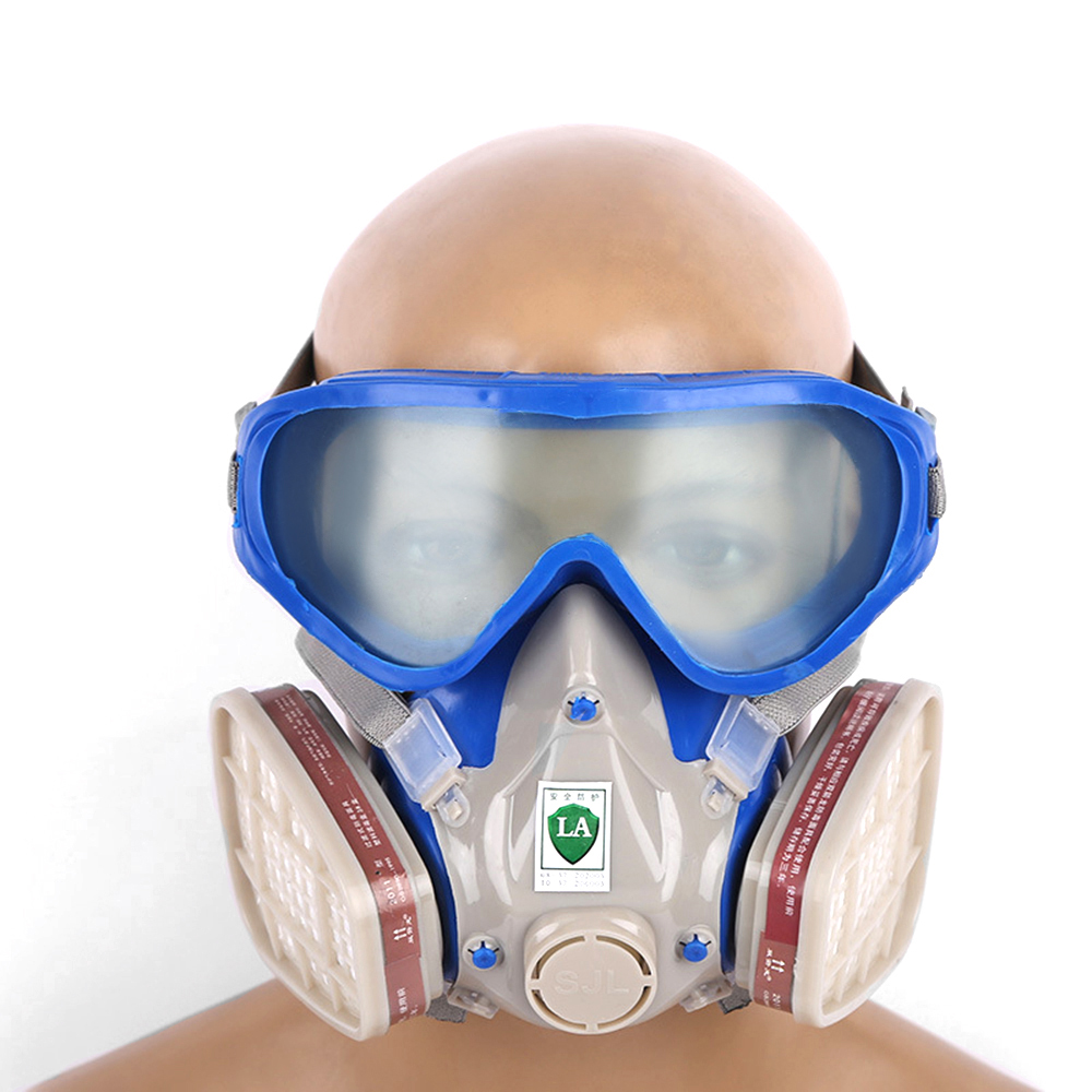 Spray Paint Mask >> Us 10 42 42 Off Gas Mask Dual Anti Dust Spray Paint Mask Industrial Chemical Gas Respirator Mask Glasses Set Silicone Full Face Protective Mas In