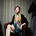 2016 Marca de Lujo Nueva Bufanda de Moda de Verano de Las Mujeres de Tinta Pintura Designe Tencel Señoras Bufanda de Seda Foulard Chales De Aire Condicionado