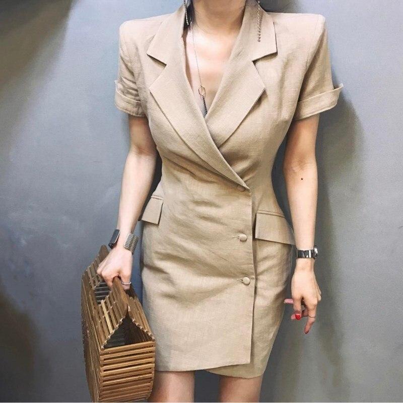 Blazer Feminino nouvelle vente plein Blazer femmes 2018 été lin professionnel costume irrégulière robe longue Section mince unique femme