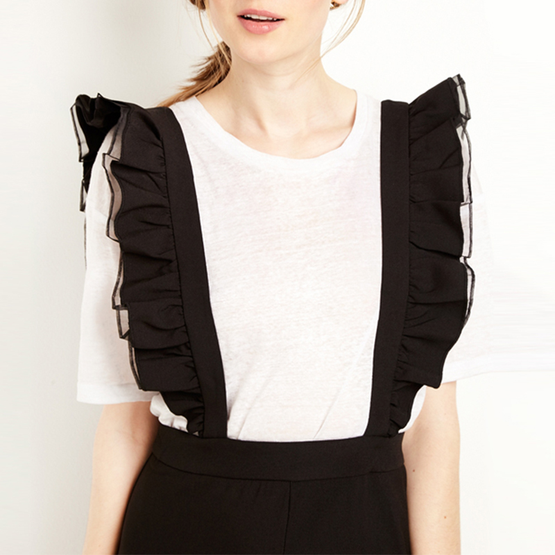 fe5149fec4 IRISIE Apparel Black Ruffle Female Overall Patchwork Casual Women Jumpsuit  Romper Sleeveless Wide Leg Chic Overall Romper-in Jumpsuits from Women s  Clothing ...