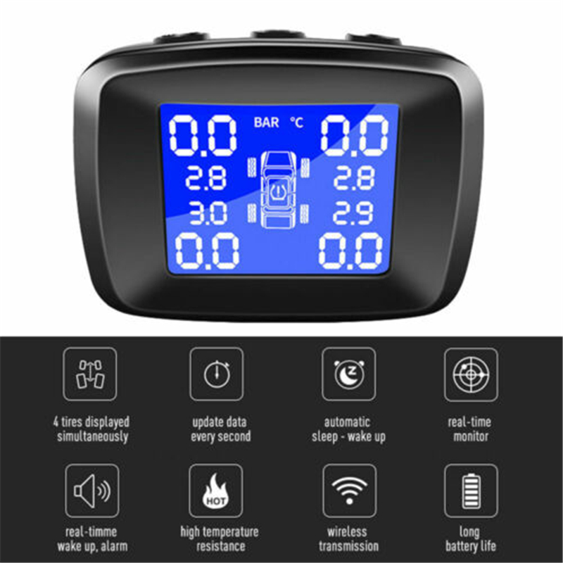 Wireless TPMS Tire Tyre Pressure Car LCD Monitoring System W/ 4 External Sensors