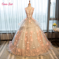 TaooZor Luxury Lace Ball Gown Appliques Flowers Wedding Dress 2018 Robe De Mariage Sexy Back Bride