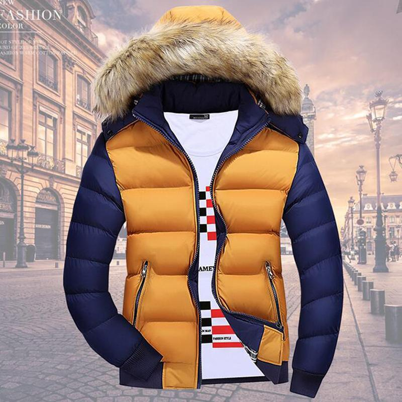 Fashion Winter Men Warm Duck Down Parkas Casual Fashion Fur Collar Thick Hooded Detachable Cap Coat Outerwear