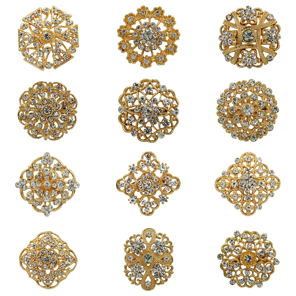 12pcs Mixed Alloy Golden Rhinestone Crystal Brooches Pins DIY Wedding Bouquet