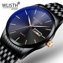 WLISTH Brand Men's Watches Luxury Ultra-thin Male Clock Steel Display Week Date Fashion Quartz-Watch Business Men Wrist Watches цена и фото