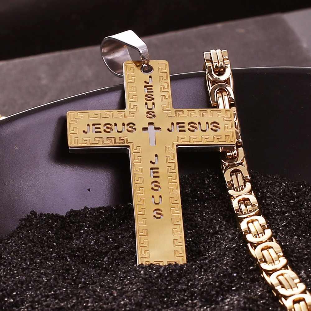 316L ze stali nierdzewnej krzyż wisiorek mężczyźni chrześcijańskich imię jezusa krucyfiks naszyjnik Biker chain dla kobiet moda biżuteria