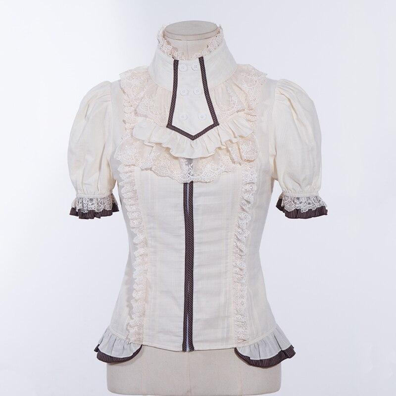 236a3a7e14 Mujer Steampunk manga corta Camisa Negra con collar jabot SP012BK en Blusas  y camisas de La ropa de las mujeres en AliExpress.com